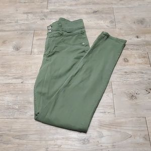 Military green high waisted skinnys